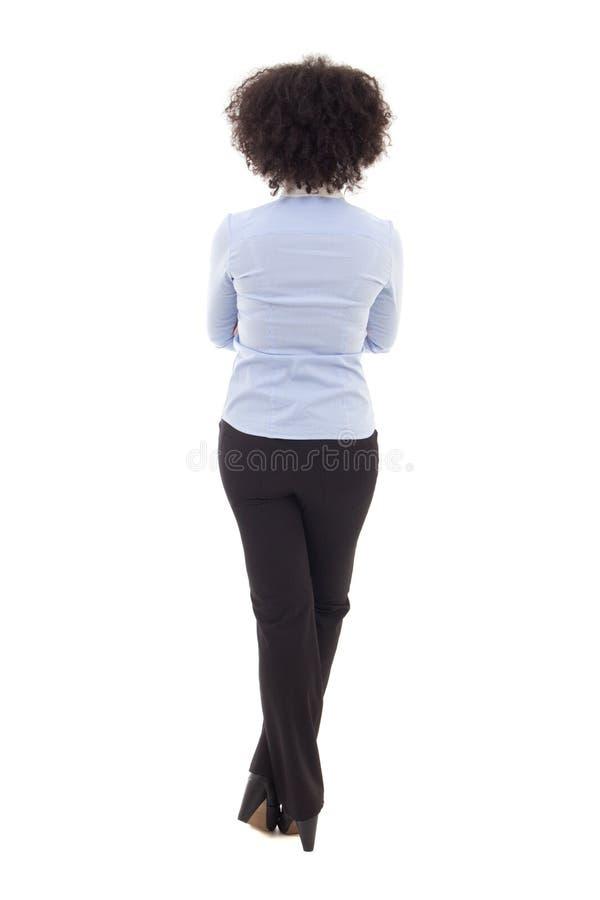 Tylny widok szczęśliwego amerykanina afrykańskiego pochodzenia biznesowa kobieta odizolowywająca na w fotografia royalty free