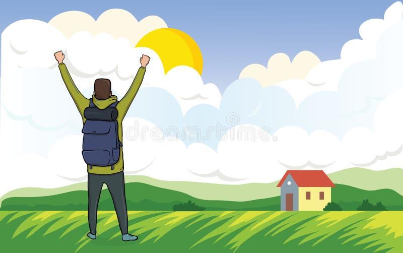 Tylny widok szczęśliwy mężczyzna na ranku spacerze w rolniczym krajobrazie Turysta z ich rękami up, gest ilustracja wektor
