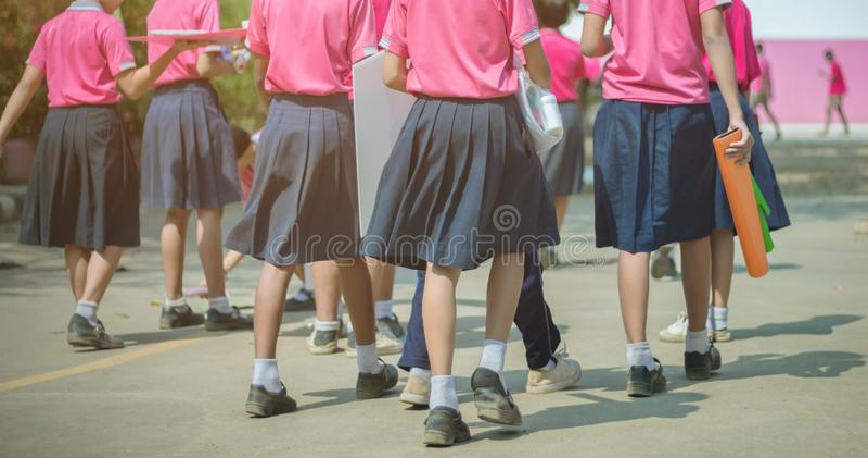 Tylny widok szcz??cie dziewczyny pocz?tkowi ucznie w r??owej koszula i b??kit sp?dnica chodzimy sale lekcyjne fotografia stock