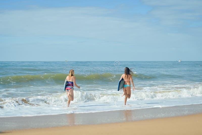 Tylny widok, zdrowi sportowi surfingowiec dziewczyny przyjaciele z dysponowanymi bodies trzyma deski obrazy royalty free