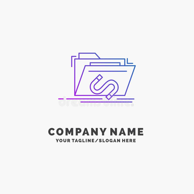 Tylnymi drzwiami, wyczyn, kartoteka, internet, oprogramowanie logo Purpurowy Biznesowy szablon Miejsce dla Tagline ilustracja wektor
