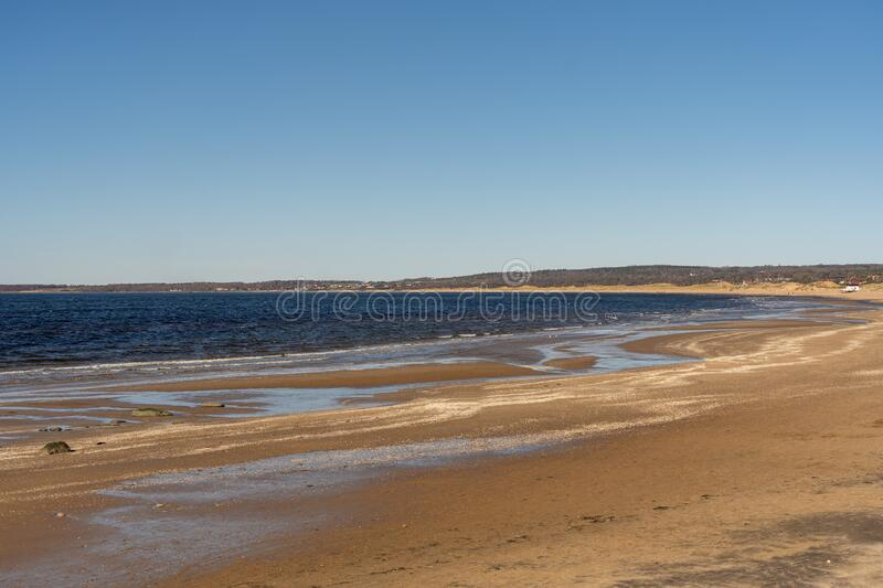 Tylosand Beach is a very popular golden sand beach in Tylosand, Halmstad, Sweden. Tylosand Beach is a very popular golden sand beach in Tylosand, Halmstad stock photography