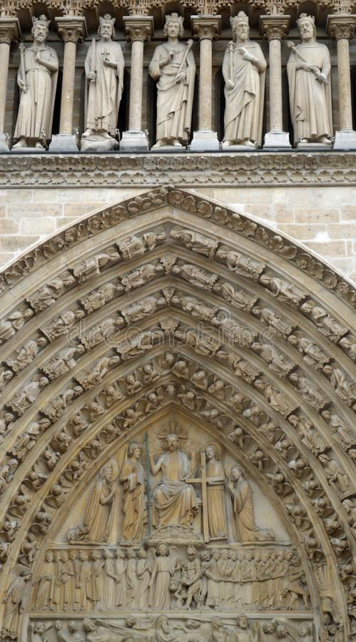 The tympanum of the portal of the Last Judgement at Notre Dame de Paris stock photo