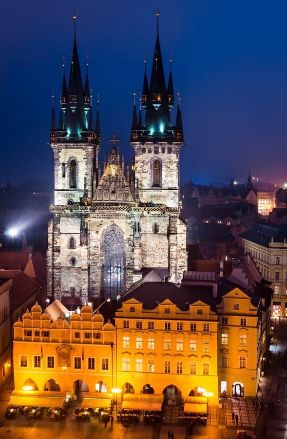 Tyn教会,布拉格老市地标  免版税库存照片