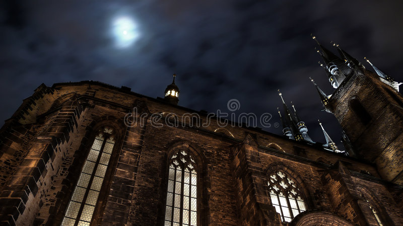 Tyn Cathedral. At Old Town Square in Prague. Looks from another side royalty free stock photo