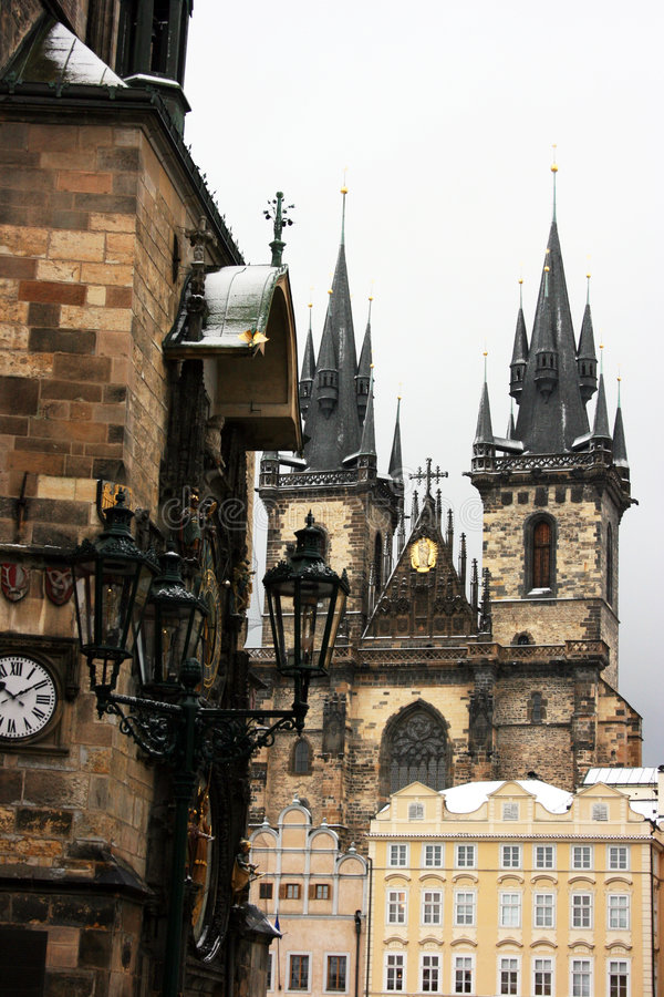 Tyn Cathedral. By municipal tower in Prague, Czech Republic royalty free stock images
