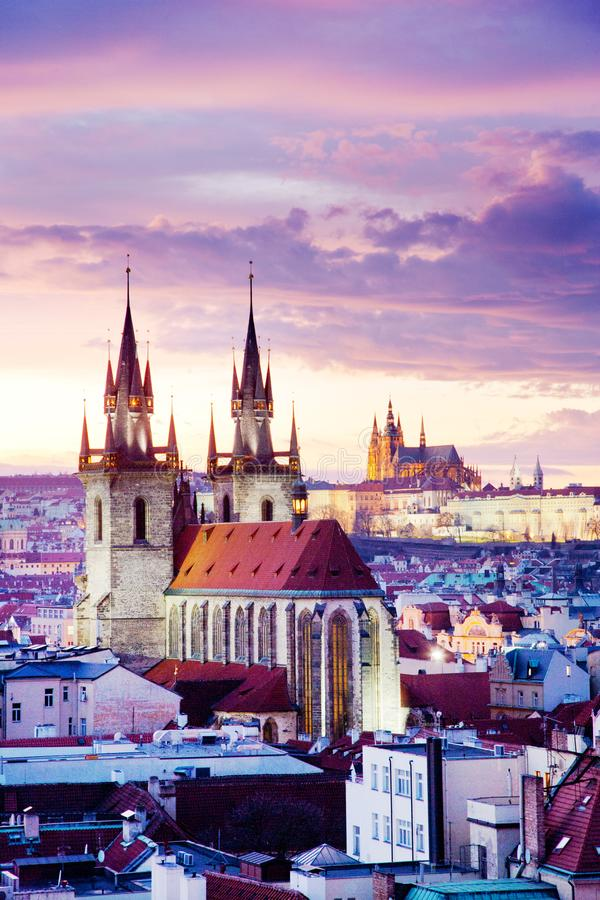 Tyn cathedral, Prague castle and Old Town UNESCO, Prague, Czech Republic, view from Powder gate. At sunset stock photo