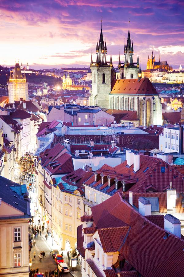Tyn cathedral, Prague castle and Old Town UNESCO, Prague, Czech Republic, view from Powder gate. At night royalty free stock photography