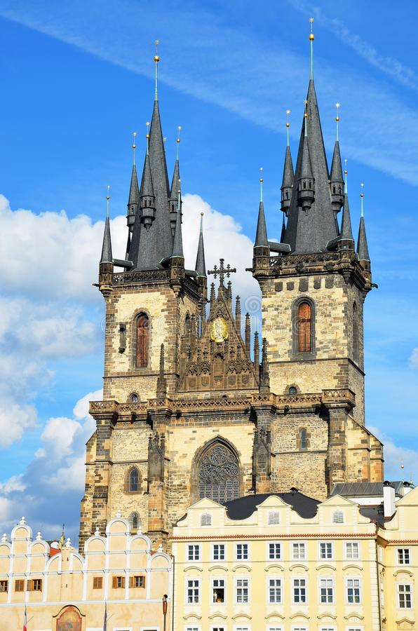 Tyn cathedral in summer, Prague. Tyn Cathedral, Old Town Square, Prague, Czech Republic royalty free stock images