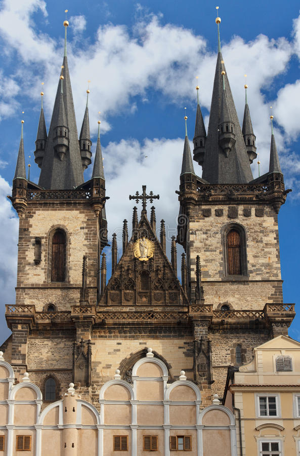 Tyn Church in Prague stock photography