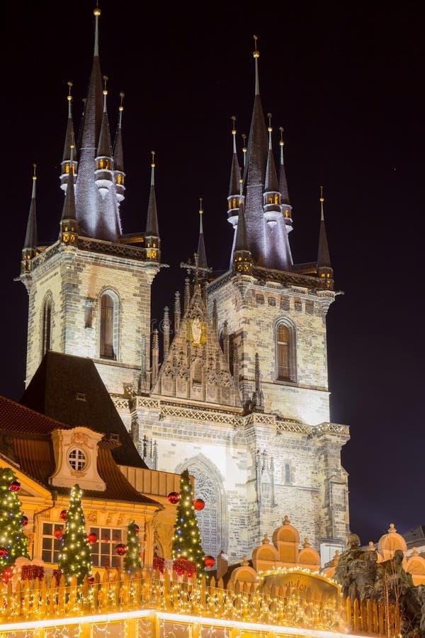 Tyn Church in Prague at night stock photo