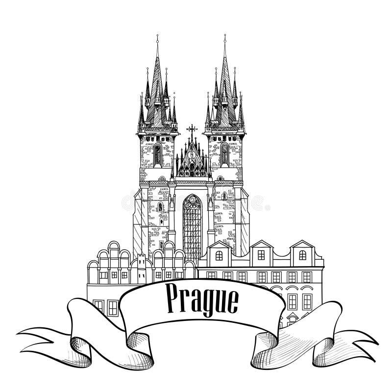 Tyn kyrka i Prague vektor illustrationer