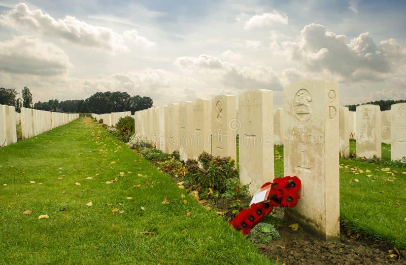 Tyne łóżka polowego cmentarza pierwszy wojna światowa Flanders Belgia zdjęcia stock