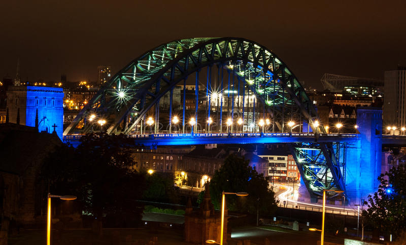 Tyne Bridge Night fotografie stock libere da diritti