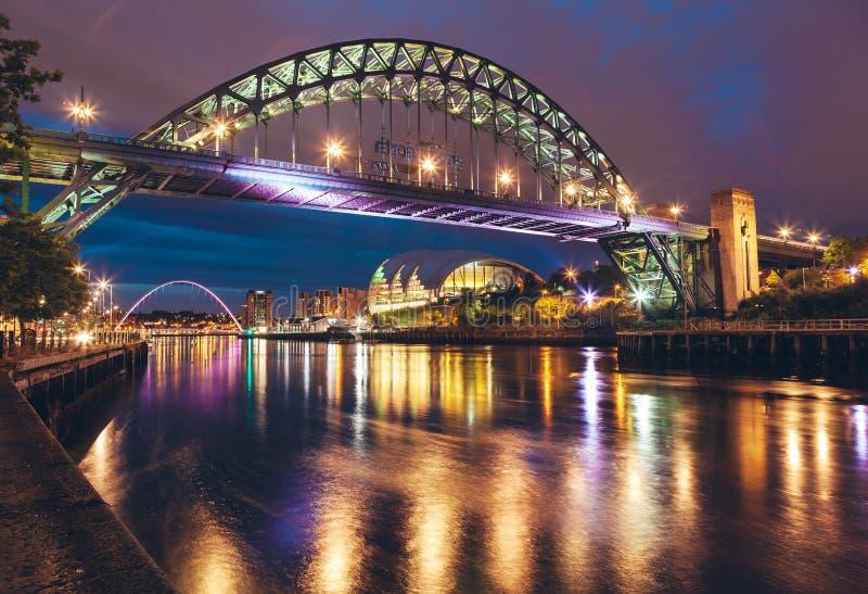 The Tyne Bridge over the river Tyne in Newcastle, GATESHEAD at night , ENGLAND. The Tyne Bridge over the river Tyne in Newcastle, GATESHEAD at night ENGLAND royalty free stock photo