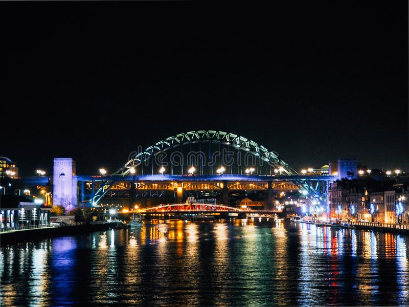 Tyne Bridge and Quayside View at Night stock images