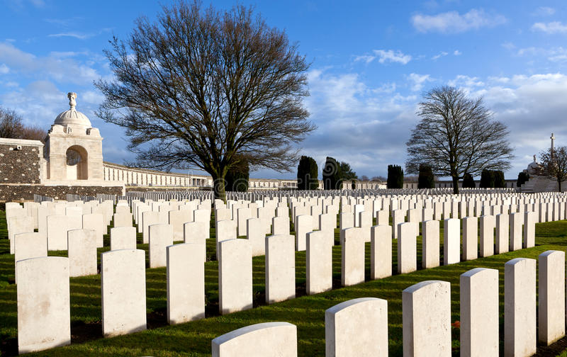 Tyne Cot Cemetery Flanders Fields, Belgium. The remembrance wall for soldiers fallen in the Great War, World War One, and headstones of graves in Flanders Fields stock images