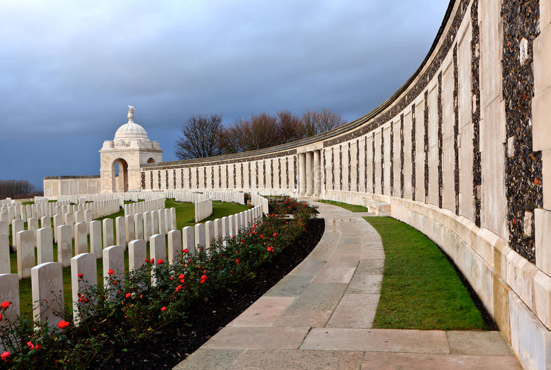 Tyne Cot Cemetery in Flanders Fields. The remembrance wall for soldiers fallen in the Great War, World war one, and headstones of graves in Flanders Fields at stock photography