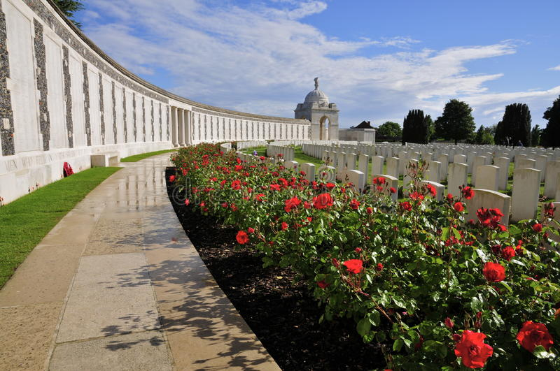 Tyne Cot Cemetery. In Passendale, West-Flanders royalty free stock photography