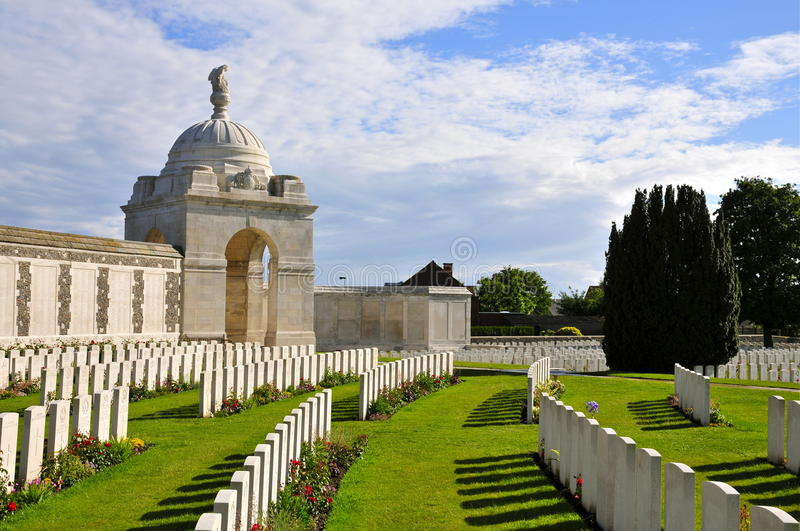 Tyne Cot Cemetery. Rows of headstones of World War One soldiers; Tyne Cot Cemetery in Passendale, West-Flanders stock photo