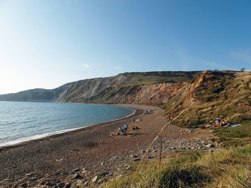Tyneham beach in the summertime. A summertime scene along Tyneham beach in Dorset, UK royalty free stock photography