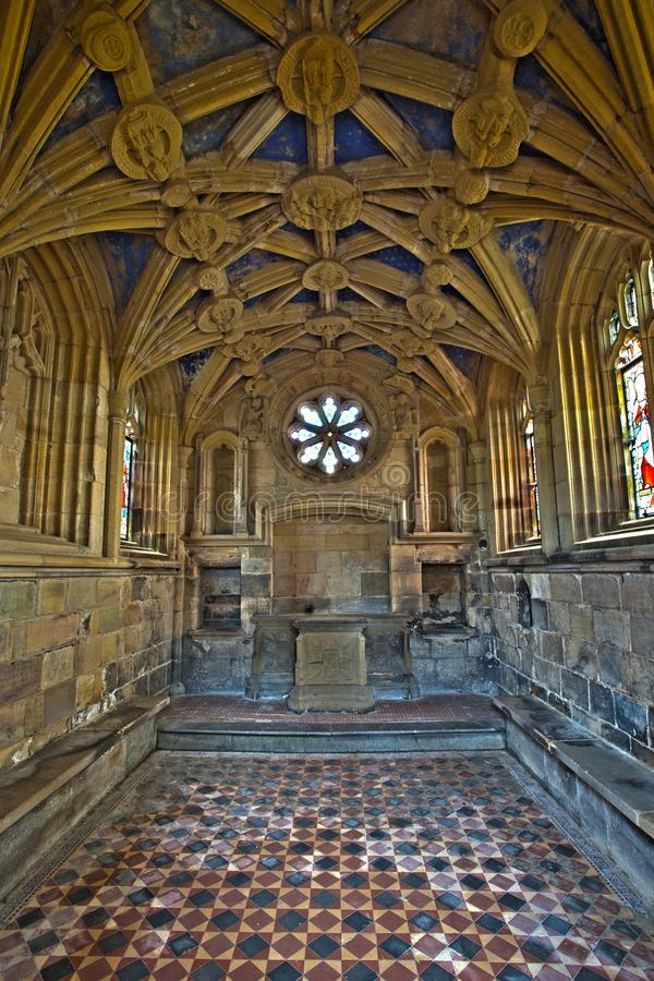 Tynemouth priorskloster - talarkonsten av St Mary eller Percy Chapel royaltyfri bild