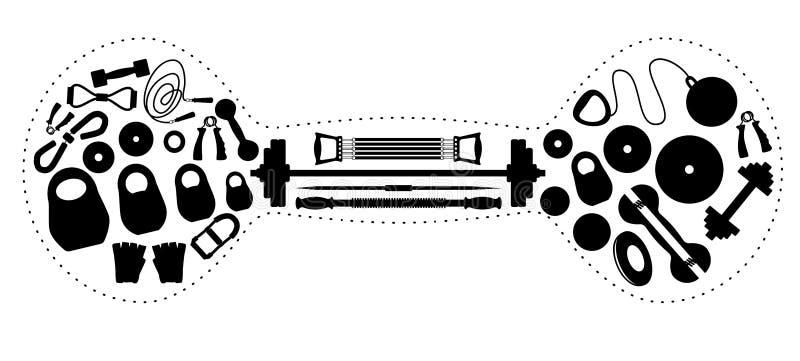 Tyngdlyftningutrustning i form av en hantel vektor illustrationer