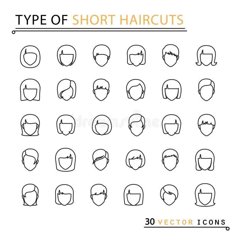 Typ av korta frisyrer stock illustrationer