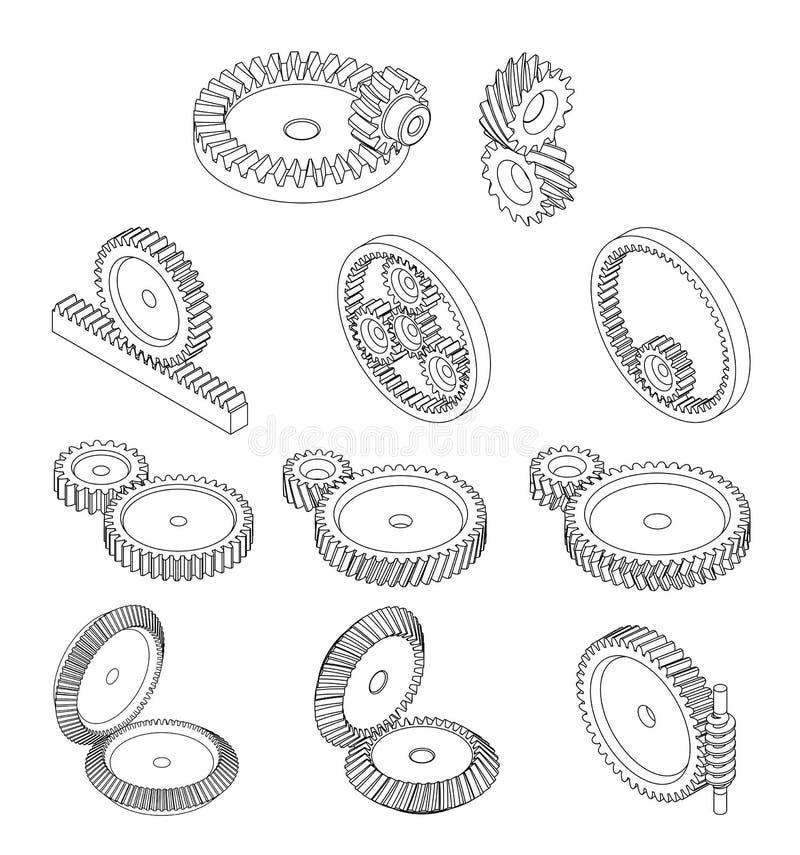 typ 11 av kugghjul royaltyfri illustrationer