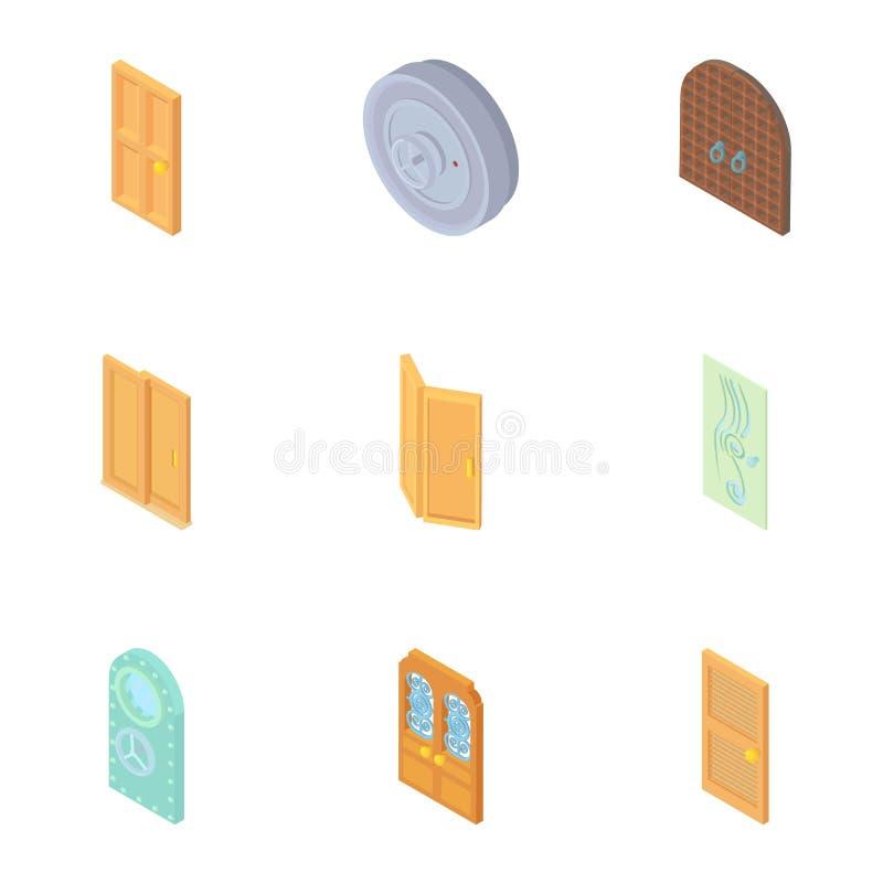 Typ drzwi ikony ustawiać, kreskówka styl ilustracja wektor