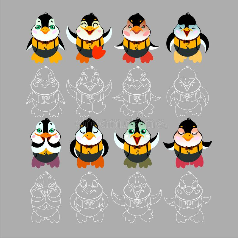 Typ emocje pingwinu charakter royalty ilustracja