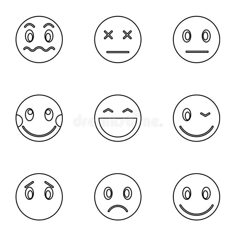 Typ emoticons ikony ustawiać, konturu styl royalty ilustracja