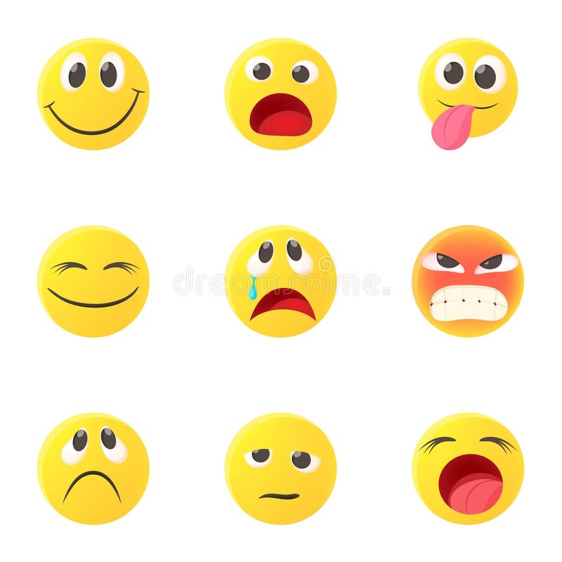 Typ emoticons ikony ustawiać, kreskówka styl royalty ilustracja