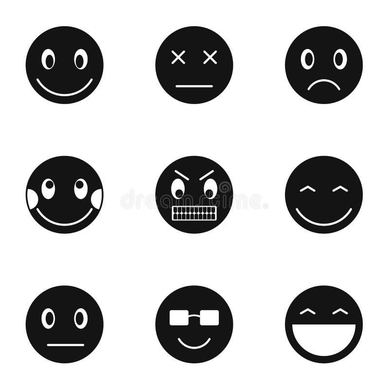 Typ emoticons ikony ustawiają, prosty styl ilustracja wektor