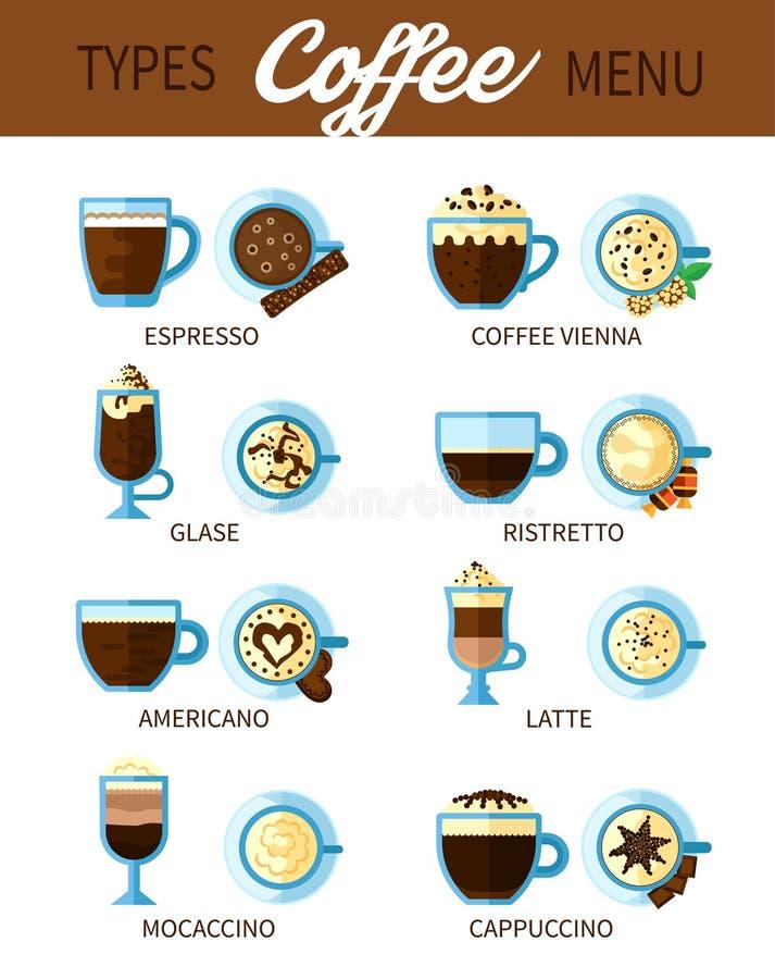 Typ kawa set royalty ilustracja