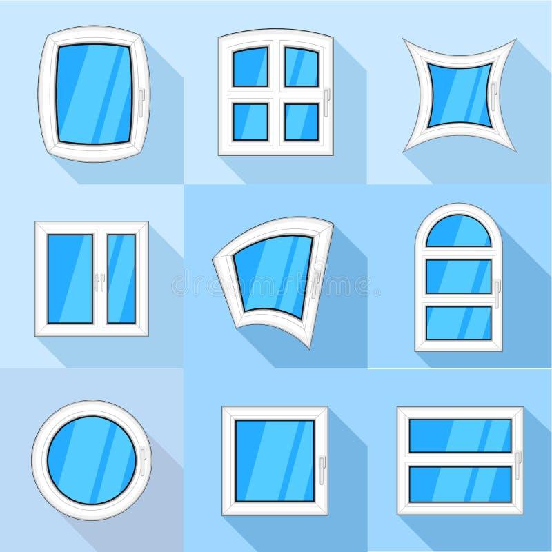 Typ lufcik ikony ustawiać, mieszkanie styl ilustracja wektor