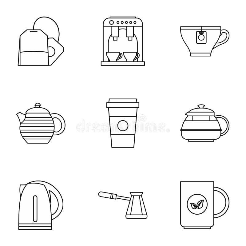 Typ napój ikony ustawiać, konturu styl ilustracja wektor