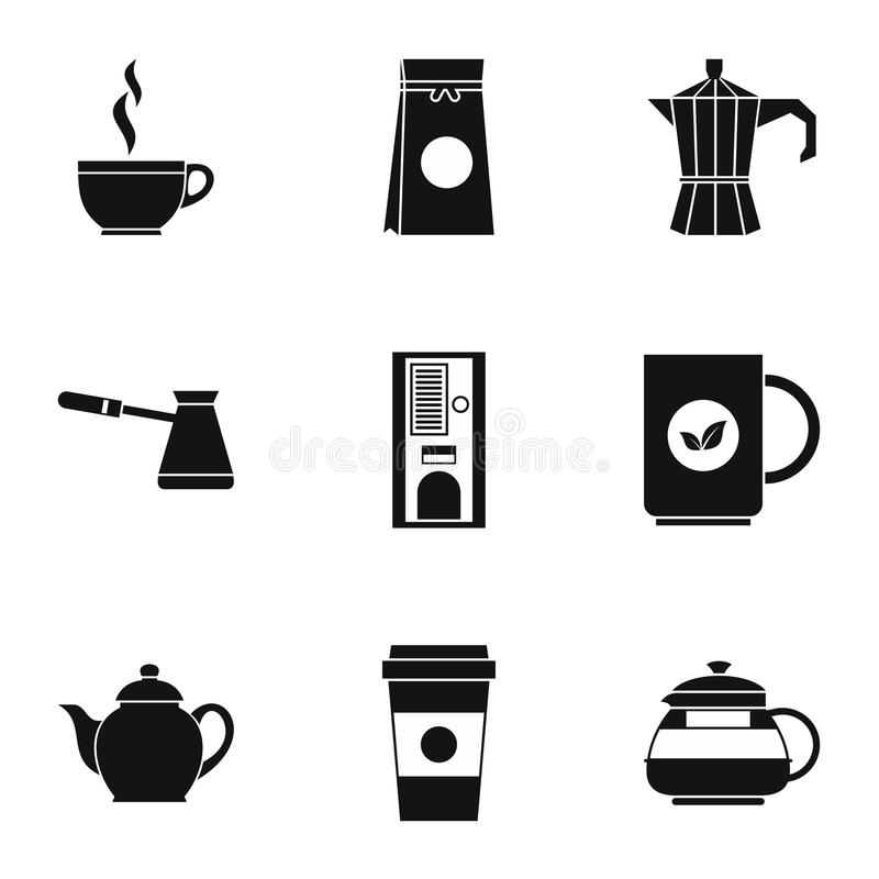 Typ napój ikony ustawiają, prosty styl royalty ilustracja