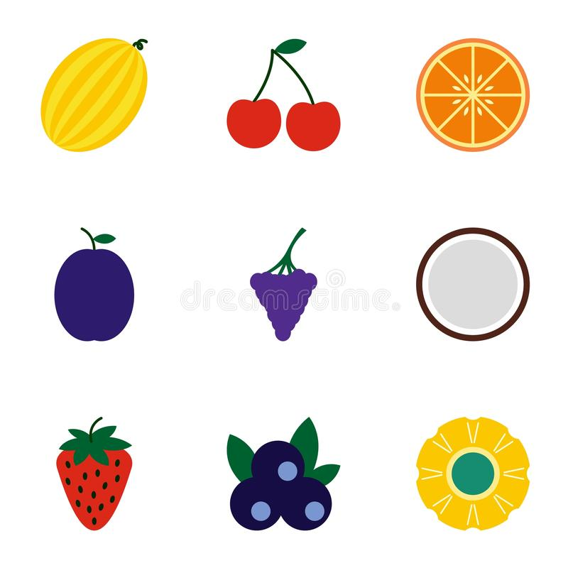 Typ owocowe ikony ustawiać, mieszkanie styl ilustracji