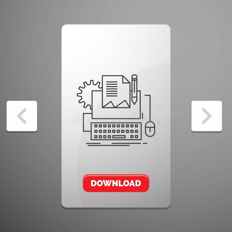 Typ pisarz, papier, komputer, papier, klawiatury Kreskowa ikona & Czerwony ściąganie guzik w biby paginacji suwaka projekcie, ilustracja wektor