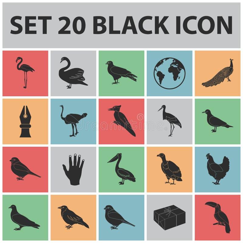 Typ ptak czarne ikony w ustalonej kolekci dla projekta Domowa i dzika ptasia wektorowa symbolu zapasu sieci ilustracja royalty ilustracja