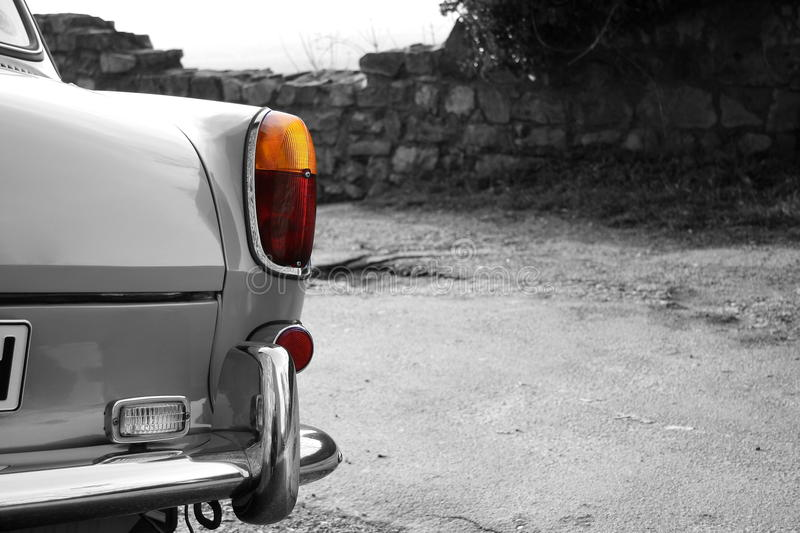 Typ3. Rear light of an old car in black and white royalty free stock photo