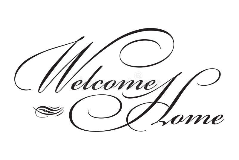 Type à la maison bienvenu illustration stock