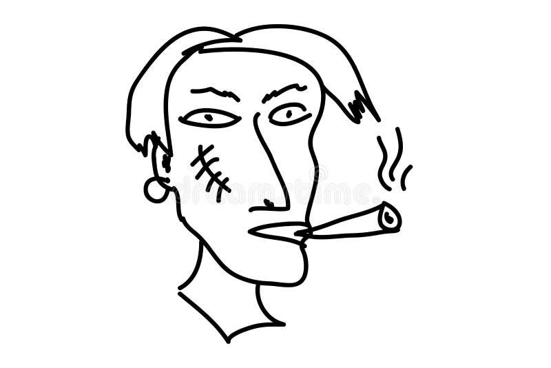 Type étrange avec le visage de cigarette et de cicatrice illustration de vecteur
