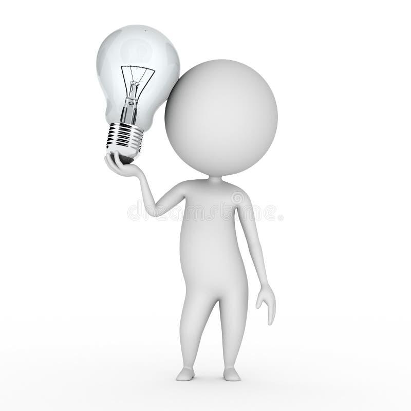 Type avec une ampoule illustration stock