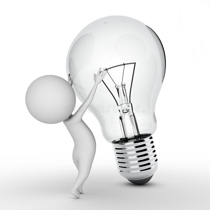 Type avec une ampoule illustration de vecteur