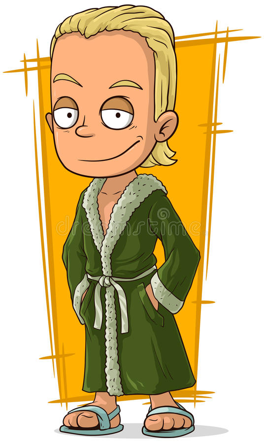 Type blond beau de bande dessinée dans le peignoir illustration stock