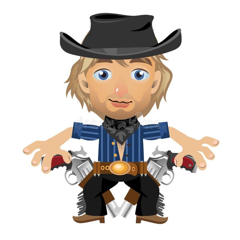 Type blond dans le chapeau avec l'étui et les armes à feu illustration libre de droits