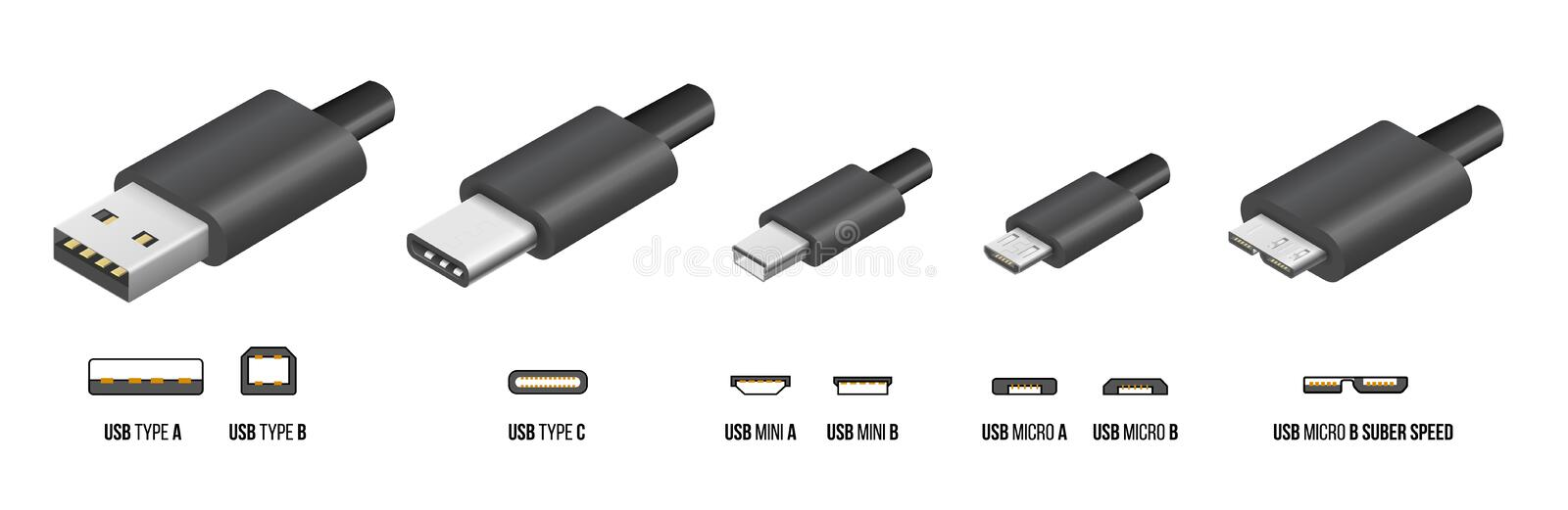 Type C d'USB illustration stock