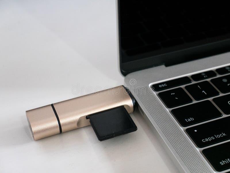Type-c d'USB lecteur Attached de carte de mémoire à l'ordinateur portable de port d'USB-C photographie stock